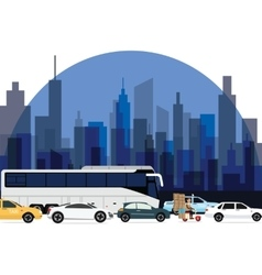 Traffic jam around town cars bus and motorcycle vector
