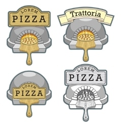 Trattoria pizza oven emblem design vector