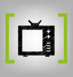 tv sign black scribble icon vector image