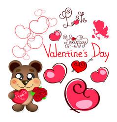 Valentine s day teddy bear vector