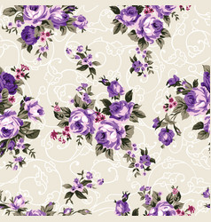 Vintage chintz roses seamless pattern vector