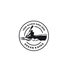 Vintage kayak circle emblem logo vector