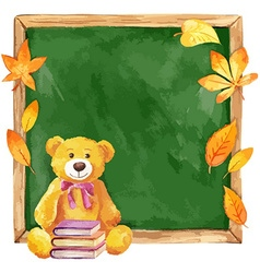 Watercolor teddy bear on the school board Autumn vector image