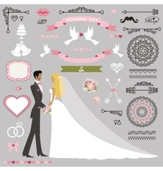 wedding invitation decor set with kissing stand vector image