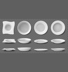 white realistic plates porcelain household vector image