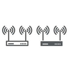 wifi router line and glyph icon electronic vector image