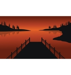 Beautiful silhouette of pier vector image