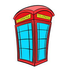 British red phone booth icon cartoon vector