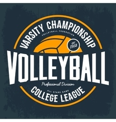 College tournament emblem for volleyball sport vector image vector image