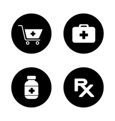 Online pharmacy black icons set vector image