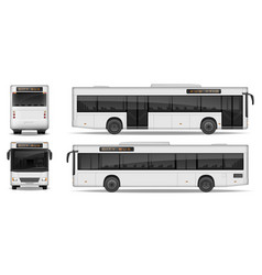 realistic city bus template isolated on white vector image vector image