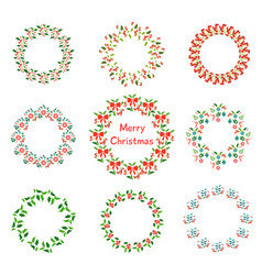 christmas wreath set with winter floral hand vector image
