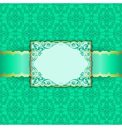 Greeting card in green colors vector image