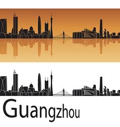 Guangzhou skyline in orange background vector image