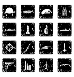 Military set icons grunge style vector image