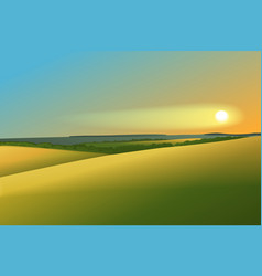 Rural landscape with sunset vector image vector image