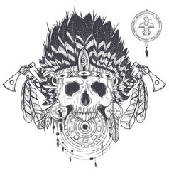 a human skull in an indian vector image