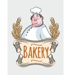 Chef baker label vector