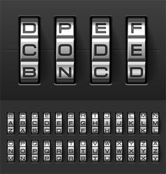 Combination code lock alphabet vector image