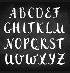 hand drawn alphabet on chalkboard capitals vector image