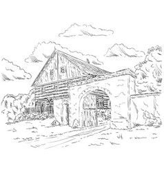 old house in village vector image
