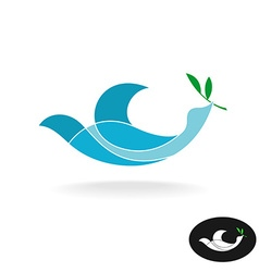 Dove of peace with olive brand colorful overlay vector image vector image