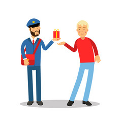 postman in blue uniform with red bag giving a vector image vector image