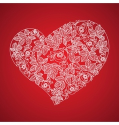Red valentine heart in floral style isolated on vector image