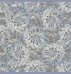 3d floral seamless pattern light elegant vector
