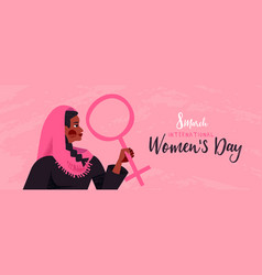 8 march womens day pink banner muslim woman vector