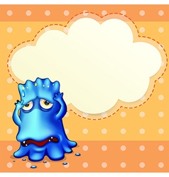 A blue monster feeling down near the empty cloud vector