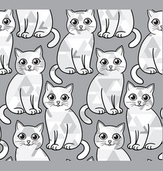 Abstract greyscale funny cats seamless vector