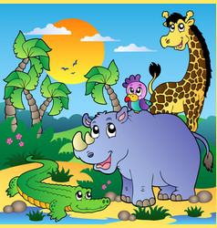african scenery with animals 3 vector image