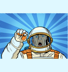 angry astronaut cosmonaut protester rally vector image