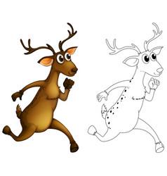 animal outline for deer running vector image