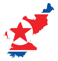 background of north korea map and flag vector image