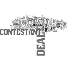 Beat the deal or no deal banker text word cloud vector