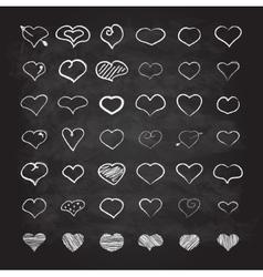 big set chalk hearts vector image