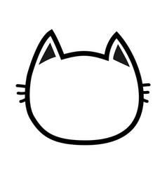 Black cat head face contour silhouette icon line vector