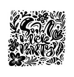 black ink flower greeting card with text vector image