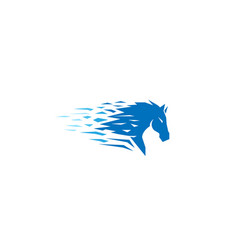 blue pixel abstract horse head logo vector image