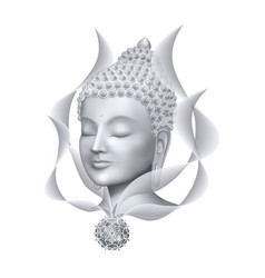 Buddha face with abstract lines and mandala vector