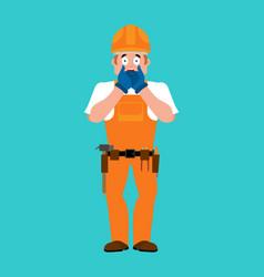 builder omg worker in protective helmet oh my god vector image
