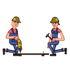 builder works with a drill vector image