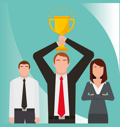 business people holding trophy success vector image