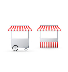 Cart with awning mobile street food delivery shop vector