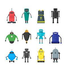 Cartoon cute toy robots color icons set vector