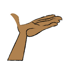cartoon hand man open palm vector image