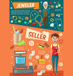 Cashier goldsmith cash register and jewelry vector