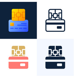 chip and credit card stock icon set concept vector image